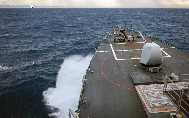 The destroyer USS John S. McCain passes through the South China Sea