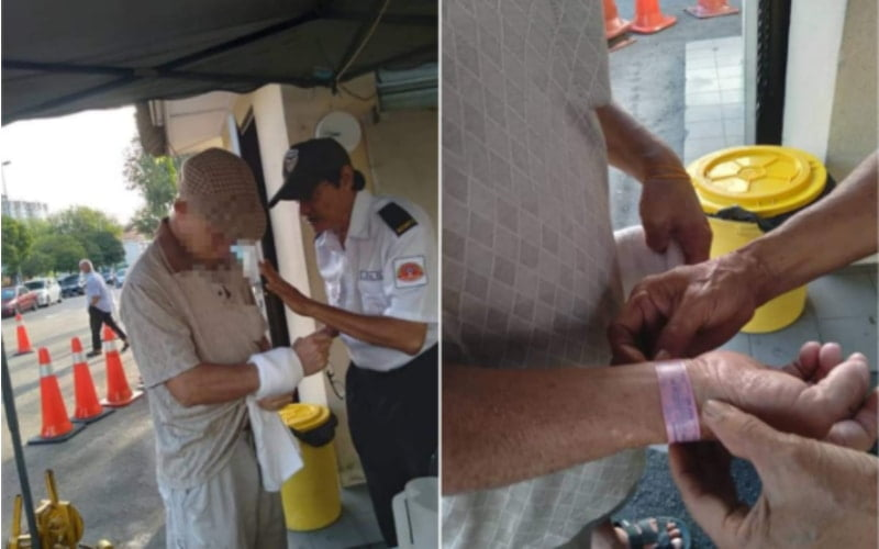 A senior Chinese man was arrested by security guards for suspiciously wrapping white towel arms.